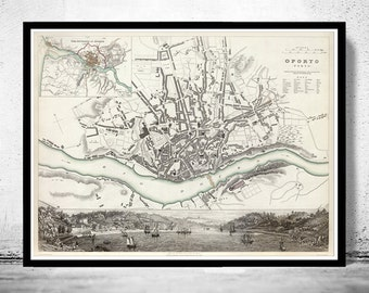 Old Map City Plan of Oporto Porto with gravures, Portugal 1833 Vintage Douro River
