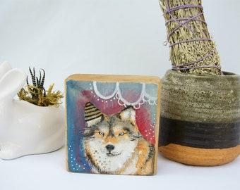 Wood art, Wolf painting, Original acrylic painting, art on wood