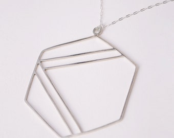 Silver Hexagonal Pendant with Stripes