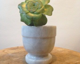 Vintage Marble Mortar - Marble Planter, Gray and White Marble, Marble Cup