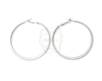 ERG-411-MR/2PCS/Textured Hoop Earring Post/52mm/Matte Rhodium Plated over Brass