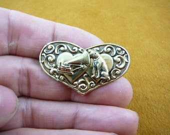 Nipper dog and phonograph dogs lover heart Victorian BRASS pin pendant brooch B-DOG-109