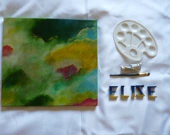 Abstraction Art Œuvre artistique abstrait Tableau Peinture nuages vert jaunes Décoration moderne Carré Format 40 x 40 cm 15 x 15 inch