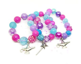 Shimmer and Shine party favor bracelet with special birthday girl bracelet! Now in organza bags