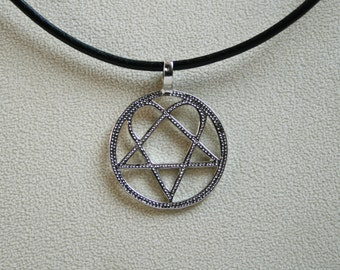 Heartagram etsy handcrafted dotty heartagram pendant heartagram set on a 3mm leather thong with aloadofball Choice Image