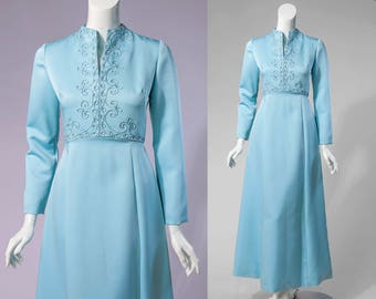 70s RONA icy blue gown with embroidered bodice | SIZE SMALL