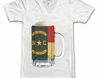 Ladies North Carolina State Flag Beer Mug Tee, Home State Tee, State Pride, State Flag, Beer Tee, Beer T-Shirt, Beer Thinkers, Beer Lovers T