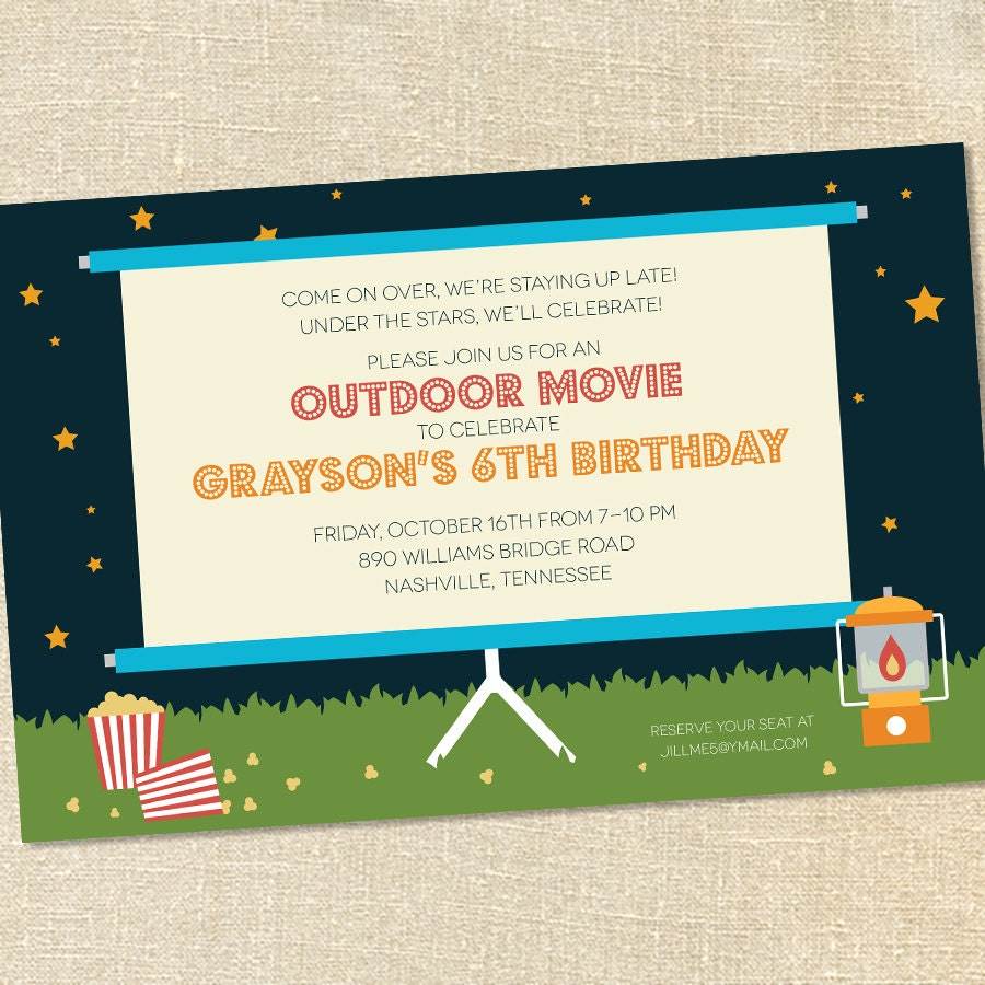 Sweet wishes outdoor movie under the stars party invitations zoom stopboris Image collections