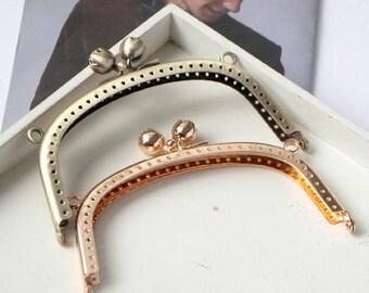 1 PCS, 12.5cm/ 5 inches Width, Rose Beaded Kiss Lock Purse Frame w/ Rings, K176