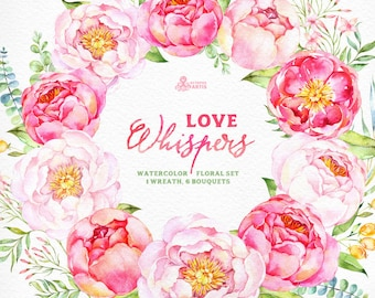 Love Whispers: 6 Watercolor Bouquets and 1 Wreath, flowers clipart, peony, wedding invitation, greeting card, diy clip art, flowers, spring