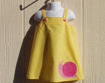 Yellow with White Dots Sundress with Snail Applique Size 18 Months