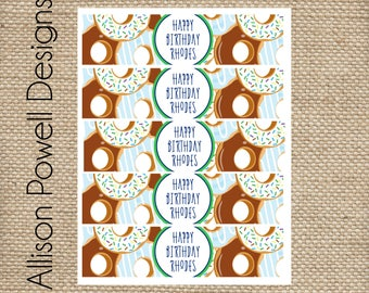 Donut Birthday Party Water Bottle Wrappers