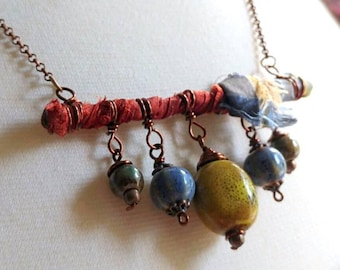 Fiber Art Necklace and Earrings Set, sari silk ribbon, wire wrap, copper, ceramic Beads- A14-05