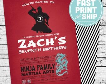 Printed Ninja Invitations and Envelopes