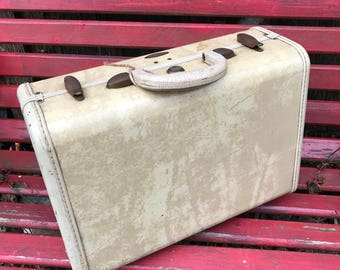 Vintage Samsonite Ivory Marbleized Small Suitcase