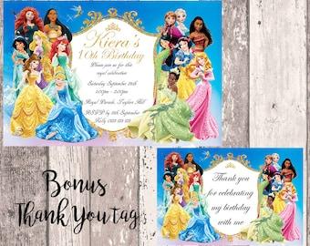 Disney Princess Birthday Invitation, Digital Invitation, Photo Invitation, Aurora, Snow White, Cinderella