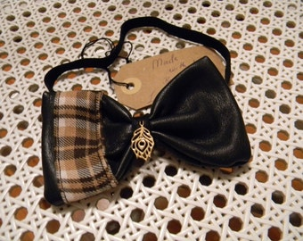 Leather bow tie for women