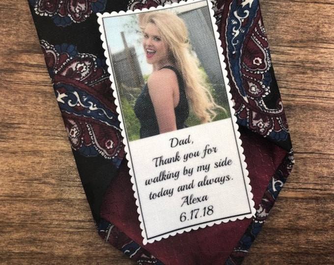 """Featured listing image: Tie Patch, PHOTO PATCH, Custom Patch, Custom Photo, Father of the Bride, 1.25"""" x 2.5"""" or 1.75"""" x 3.5"""", Thank You For Walking By My Side"""
