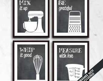 Funny Kitchen Art Print Set (Mixer, Grater, Whisk, Measuring Cup) Set of 4 - Art Prints (Featured on Blackboard)