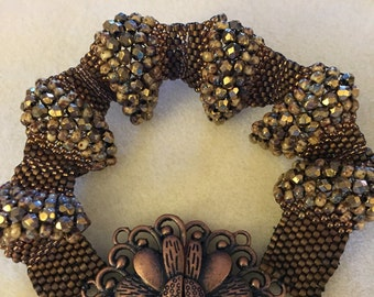 Beaded bracelet as designed by beadwork magazine and recreated by designer Andrea Morici of Beadaholique
