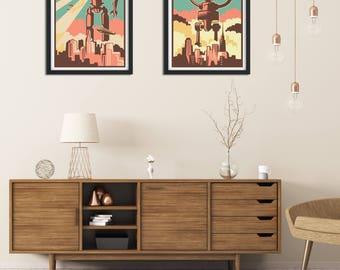 Print Set, Retro Wall Art, Robot Print, Set of Print, Retro Print, Fine Art Print, Retro Art, Wall Art Print, Robot Poster, Retro Posters