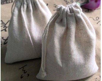 Lot of 50 pcs Cotton Linen Gift Bags Natural Blank Muslin Drawstring Pouches Party Favor Jewelry Holders