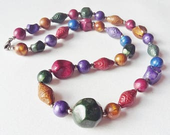 Multicolour Necklace Lustrous Multi Shaped Lucite Beads Dark Shades Tones Purple Blue Green Red Gold