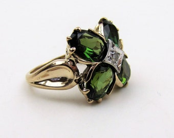 14K Gold Tsavorite Garnet Diamond Ring. 4 Carat Green Garnet Shamrock Ring. Custom Made Modern Irish Clover Ring With Appraisal Size 5-1/2