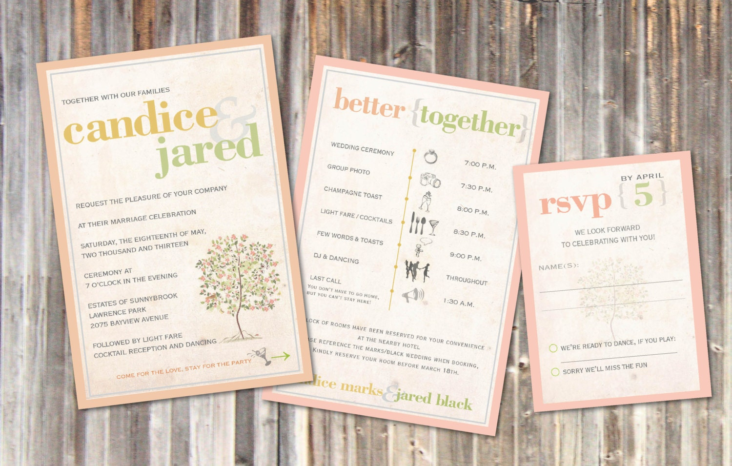 Rustic Wedding Invitations Vintage Soft Peach Sage Green