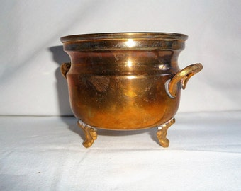 Vintage Brass Planter Pot, Brass Plant Vase, Footed Planter,  Home Decor
