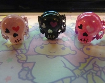 Glitter Day of the Death Skull Ring