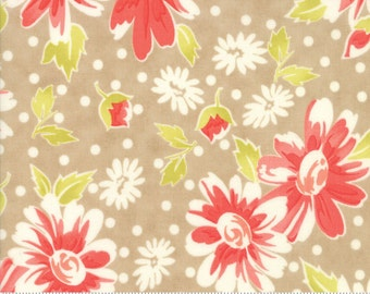 "SALE - 31"" piece/remnant - Coney Island - Blooms in Boardwalk Tan: sku 20280-18 cotton quilting fabric by Fig Tree and Co. for Moda Fabrics"
