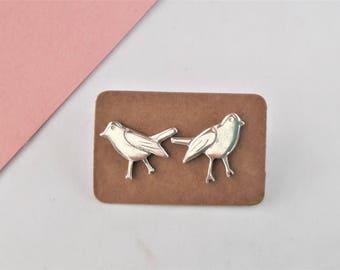 Earrings Robin in 925 sterling silver is handmade in France / Robins earrings in sterling silver handmade in France
