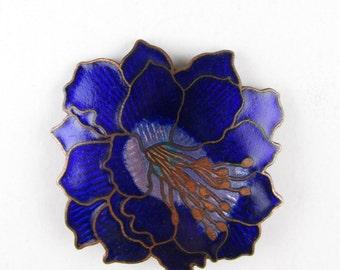 Vintage Cloisonne Flower Brooch with Blue Enamel
