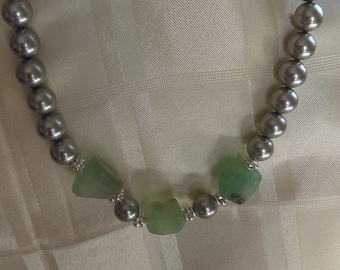 Statement Silver Shell Pearl and Flourite Necklace with Silver Plated Copper Toggle Clasp