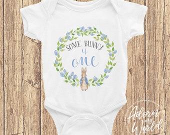 Some Bunny Is One Onesie, 1st Birthday Bodysuit, First Birthday Outfit, Peter Rabbit Onesie, Peter Rabbit Clothing, Peter Rabbit Bodysuit,