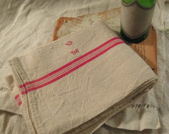 Vintage Classic Red Striped French Linen Dish Towel / Torchon / Tea Towel / Monogrammed Towel