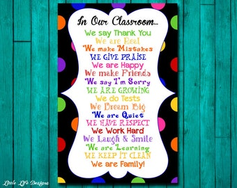 Classroom Decor. Classroom Rules. Classroom Sign. Classroom Teacher Gift. Teacher Appreciation. In This Classroom. Gift for Teacher. School
