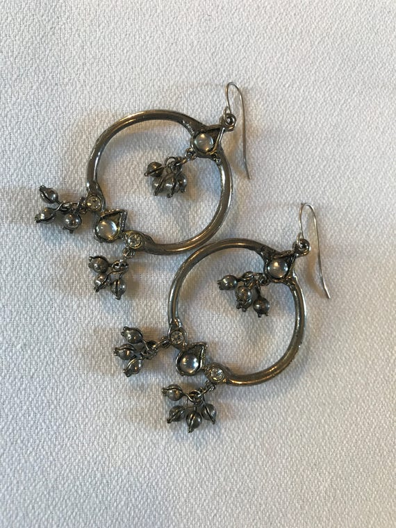 Beautiful Silvertone & Crystal Hooped Chandelier Earrings