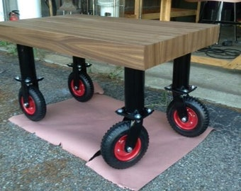 Industrial Butcher Block Rolling Table