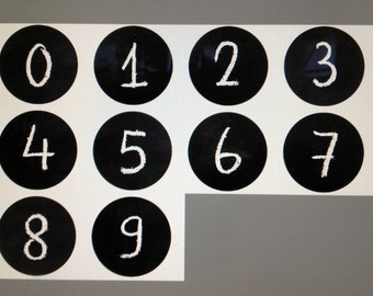 """24 Number Magnets - 365 Days a Year - 0 to 9 Countdown the Year Chalkboard Design Each 1.5""""  Made To Order"""