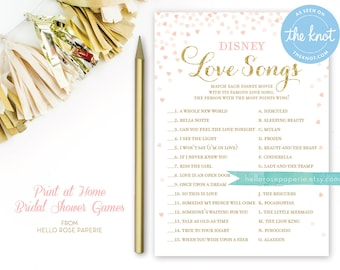 Disney Love Songs Bridal Shower Game . Printable Instant Download . Disney Love Song Game . Printable Pink and Gold Bridal Shower Games