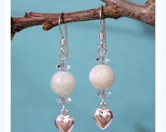 Sterling Silver Jade Earrings, Sterling Silver Earrings, Swarovski Crystal Earrings, Heart Earrings, Genuine Jade Earrings, Crystal Earrings