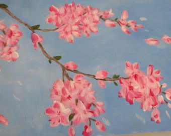 Branch of Cherry Blossoms in the Wind Original Acrylic painting