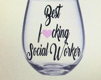 Social worker gift. Social worker wine glass. Social worker gifts gift for social workers.