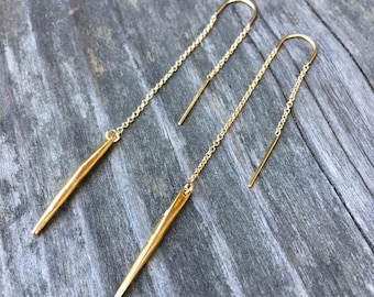 Gold Spike Threader Earrings | 18k Gold Dipped Spikes on Gold Filled Threader Earrings