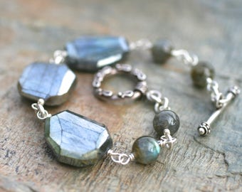 Mystic Labradorite Gemstone Nugget Bracelet,Sterling Silver Wire Wrapped Handmade Bracelet,Gemstone Bracelet,Silver and Gray Chunky Bracelet