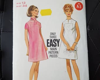 "Sewing Pattern for Mod Dress- Semi-Fitted A-Line 1960s Dress Pattern - Vintage Size 12 Bust 34"" (86 cm)- Butterick 5173 G"
