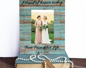 Maid of Honor Frame Maid of Honor Gift - Personalized Picture Frame goes Perfect along with a Bridesmaid Gift Box - 4x6 Frame, 5x7 Frame