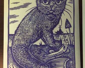 Blue Sea Cat, Linocut